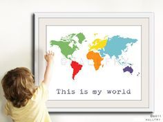 Kids wall art. World map print childrens wall art. Kid by Wallfry