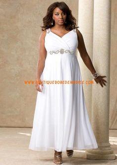 Robe de mariée blanche de gande taille col V