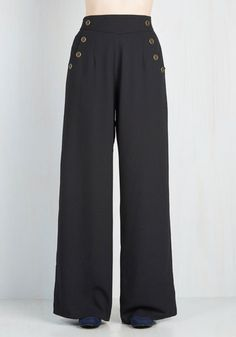 I need these pants. 1930s 1940s wide leg button pants. Every Opportunity Pants in Black $59.99 AT vintagedancer.com
