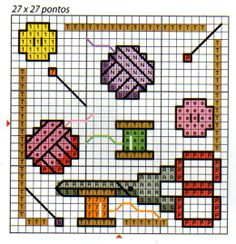 sewing motif: scissors, thread, buttons, yarn, pins, measuring tape.  Biscornu inspiration