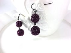 Sparkling Burgundy Wine Dangle Beaded Beads by frompgwithlove, $18.99
