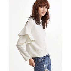 SheIn(sheinside) White Drop Shoulder Ruffle Trim Sweatshirt (34 RON) ❤ liked on Polyvore featuring tops, hoodies, sweatshirts, white pullover, long sleeve pullover, flutter-sleeve top, pullover sweatshirt and ruffle top