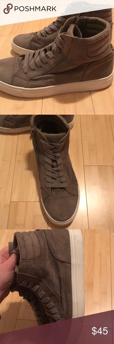 Steve Madden High Top sneakers Only worn 2 times! Super trendy right now! Suede outside! Great condition!! Only part of shoe that is dirty is the bottom. Gray Taupe color Steve Madden Shoes Sneakers