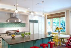 Really like this idea for backsplash: more vibrant tiles as a stripe grounded with white (subway) tiles.