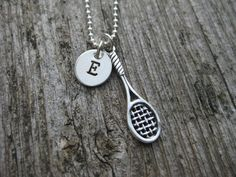 Tennis Racquet Necklace Personalized Initial Sports by ESDesigns14, $28.00