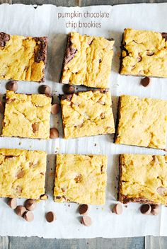 Pumpkin Chocolate Chip Brookies are a perfect combination of brownies and pumpkin chocolate chip cookies. No need to choose just one or the other!