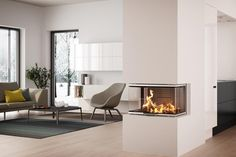 Find your new fireplace in a beautiful design that creates a warm centrepiece in your home. Get Scandinavian quality with a fireplace insert - RAIS Home Fireplace, Modern Fireplace, Fireplace Design, Log Burning Stoves, Living Area, Living Room, Fireplace Inserts, Piece A Vivre, Wood Burner