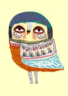 Handsome Owl. Kids Wall Art. Illustration Print. by AshleyPercival, $40.00