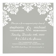Damask Engagement Party Invite