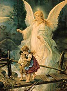 Ángel de mi guarda mi dulce compañía, no me desampares ni de noche ni de día, no me dejes sola que sin ti me perdería