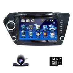 Free Rearview Camera ! Car DVD Player for KIA RIO K2 with Radio, GPS Navigation, TV, SWC, BT, USB/SD, Russian menu, Free 8GB Map