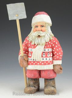 Santa Shoveling Snow - Carved by Russell Scott