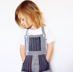 Our white and black striped overall with Peruvian textile accents