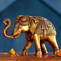 Brass Elephant Objet ~ Hand-Crafted by artisans in India via www.worldmarket.com/craft #CRAFTBYWORLDMARKET #BestExoticMarigold #LoveBlooms