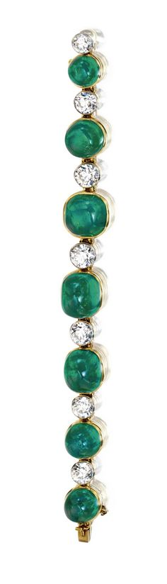 Cabochon Emerald and Diamond bracelet, Cartier, 1923.