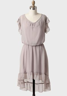 Forever Dreaming Ruffled Dress In Gray at Ruche Gray Dress, Ruffle Dress, Dress Up, Ruffles, Grey Bridesmaids, Grey Bridesmaid Dresses, Modern Vintage Dress, Vintage Dresses, Warm Weather Outfits