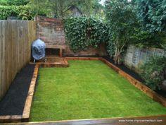 Back Garden Design, Backyard Garden Design, Small Backyard Landscaping, Backyard Layout, Garden Makeover, Backyard Makeover, Landscape Timbers, Landscape Timber Edging, Garden Yard Ideas