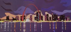 St Louis skyline Hand cut and glued coloraid paper St Louis Skyline, Places, Movie Posters, Film Poster, Popcorn Posters, Film Posters, Posters, Lugares