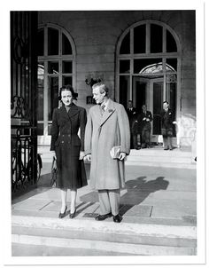 The Duke and Duchess stand outside the Ritz, Paris in 1946.