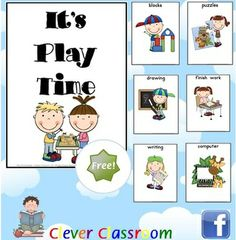 FREE Play Time Posters - PDF file25 pages designed by Clever Classroom.It is Play Time!Use these cards to display next to various pla...