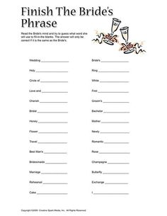 bridal shower game idea, i would choose different words Maybe bride can play along with this one too, and we mark our answers against what she has written down Wedding Shower Games, My Bridal Shower, Wedding Games, Bridal Showers, Shower Party, Wedding Ideas, Wedding Stuff, Wedding Things, Dream Wedding