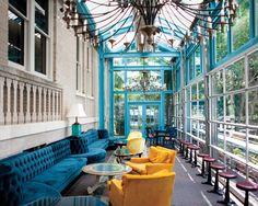 Hotel Havana in San Antonio, the Ocho restaurant photo by Allison V. Smith.    LOVE the color!