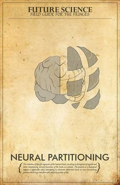 TAKING A PIECE OF THE BRAIN OUT TO KEEP THE OBSERVERS FROM CONQUERING EARTH!  Fringe Inspired Mad Scientist Poster // Neural Partitioning // 11x17 Minimalist Vintage Print