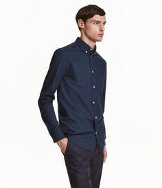 PRESTON : Medium Oxfordskjorte i premium cotton | Mørkeblå | Herre | H&M DK