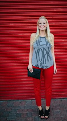 This fall, be bold with your wardrobe. A graphic tee + our Pixie Pants in bold red are sure to make for a stand out look. | Source: http://thestylescribe.com/2014/08/28/old-navy-pixie-pants-refinery29/