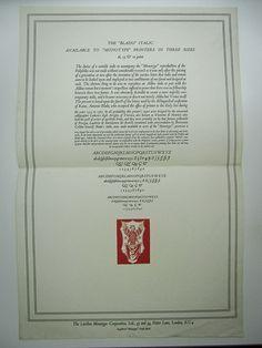 Monotype Blado Italic broadside, late 1920s
