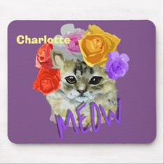 Shop Cute Cat Flowery Rose Headdress Meow Personalized Mouse Pad created by Flissitations. Custom Mouse Pads, Rose Gold Glitter, Headdress, Floral Watercolor, Create Your Own, Girly, Make It Yourself, Templates, Cats