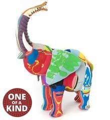 Recycled Flip Flop Elephant Sculptures - Home Decor Handmade in Africa - Swahili Modern - 1