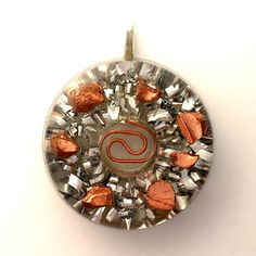 "Orgone, Orgonite Donut Pendant, Orgonite Donut Necklace, Copper Bullion, Aluminum Shavings, Copper Coil, Orgone Generator, 1"", Silver Bail by AttunementShop on Etsy"