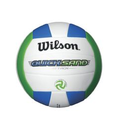 Wilson Quicksand Attack Outdoor Volleyball (Green/White/Blue): Looking for a good volleyball at a great value then the Wilson Quicksand is perfect for you. Soft outer shell takes the sting out of the game putting smiles on everyone's faces. Spike Volleyball, Beach Volleyball, Sports Shoes For Girls, Kids Sports, Outdoor Putting Green, Care Plans, T Shirts With Sayings, Leather Cover, Soccer Ball