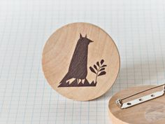 Illustrated wooden brooch  Fox by studiomeez on Etsy, €15.60