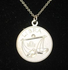 Stunning  Wells   Signed Sterling Silver LIBRA Pendant Necklace