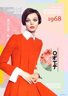 1968 Fashion Collage Photo woman Jean Patou Marie by SoulArtCorner