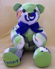 Patchwork teddy bear made from baby s outgrown sleepers