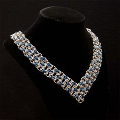 Silver and Blue 'LBD' Necklace by Chadamus