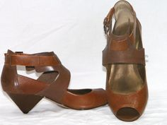 peep toe 1970s FAITH ladies wedge ankle strap sandals shoes Made in Brazil mod boho sculptural geometric 2-tone leather pumps