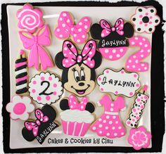 Minnie Mouse First Baby Shower Invitation Ideas Cookies For Kids, Baby Cookies, Cute Cookies, Birthday Cookies, Cupcake Cookies, Sugar Cookies, Mickey Cupcakes, Minnie Mouse Cookies, Disney Cookies
