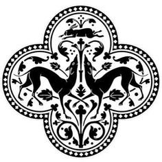 Viara Gent's vector extract from the original artwork of the medieval floor patterns with greyhounds and a hare in a quatrefoil motif at Sainte-Chapelle, Île de la Cité Paris