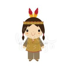 Digital Clip Art A46 - Native American Indian Boy. $2.20, via Etsy.