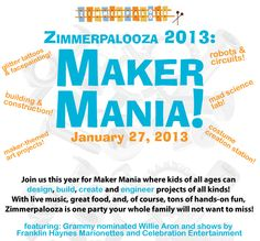 Zimmerpalooza Maker Mania is hands on fun at the Zimmer Children's Museum! Kids of all ages can design build, create and engineer projects of all kinds! With live music and great food, Zimmerpalooza is one party your whole family will not want to miss!