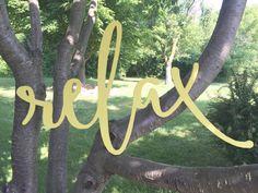 Painted Relax Word Wood Cut Wall Art Sign Decor by Featherandbirch