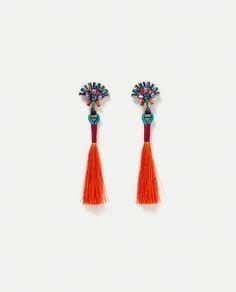 Image 1 of MULTICOLOURED POMPOM EARRINGS from Zara