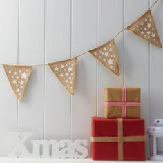 Festive Star Christmas Hessian Bunting Decoration by Ginger Ray, the perfect gift for Explore more unique gifts in our curated marketplace. Christmas Bunting, Christmas Night, Rustic Christmas, Christmas Crafts, Christmas 2017, Hessian Bunting, Bunting Garland, Decoration Table, Xmas Decorations