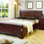 : Bedroom Rustic Dark Brown Wooden Bed Frame With Headboard Also Brown White Bedding Set Placed On The Light Brown Wooden Flooring Wonderful Floor Bed Frames