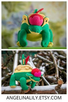 Monsters appletun plush appletun pokemon plush appletun toy pokemon plush appletun Little Pet Shop Toys, Little Pets, Needle Felted Animals, Felt Animals, Plush Dolls, Rag Dolls, Handmade Soft Toys, Pokemon Plush, Hand Puppets