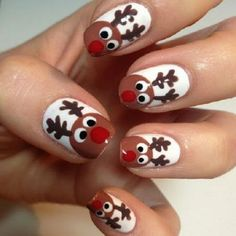 50+ Surprisingly Cute Christmas Nail Art Designs | DIY cute Rudolf the red nose reindeer nails | Xmas Nail Art Ideas #nailart #naildesigns #nailartdesigns #christmas #xmas #diy #Rudolf #reindeer #nails